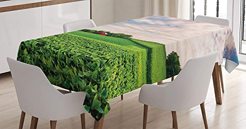 Pennsylvania House Rectangular Table - CHARMHOME Farmhouse Cotton Linen Tablecloth, Pennsylvania Nature Scenery 60(W) X120(L) inchInch, Sunset Clouds Over A Farm in Southern York County