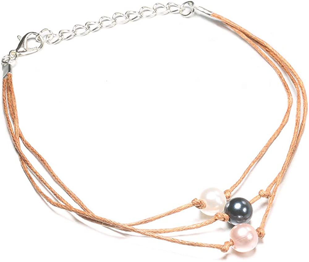 Unicra Boho Layered Anklets Pearl Foot Chain Beach Jewelry Anklet for Women and Girls