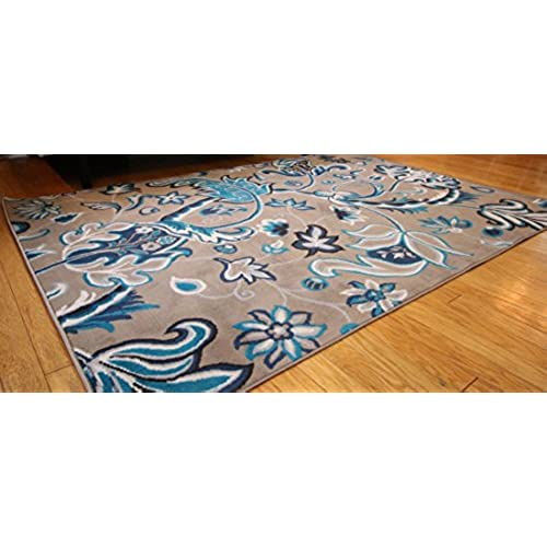 Generations New Contemporary Flowers Modern Area Rug, 2u0027 X 3u0027, Brown /Navy/Coral/Blue/Grey
