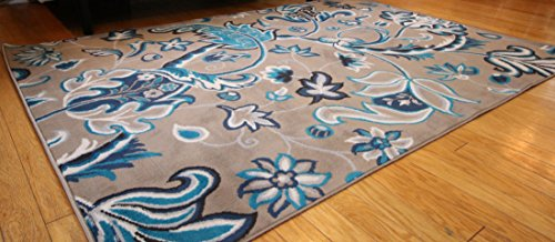 Generations New Contemporary Flowers Modern Area Rug, 8' x 10.2', Brown/Navy/Coral/Blue/Grey