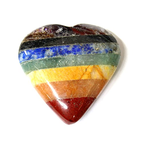 - ONE (1) Seven Chakra Stone Heart - Seven Bonded Chakra Stones - Chakra Heart - Rock Paradise Exclusive COA - AM20B7-08