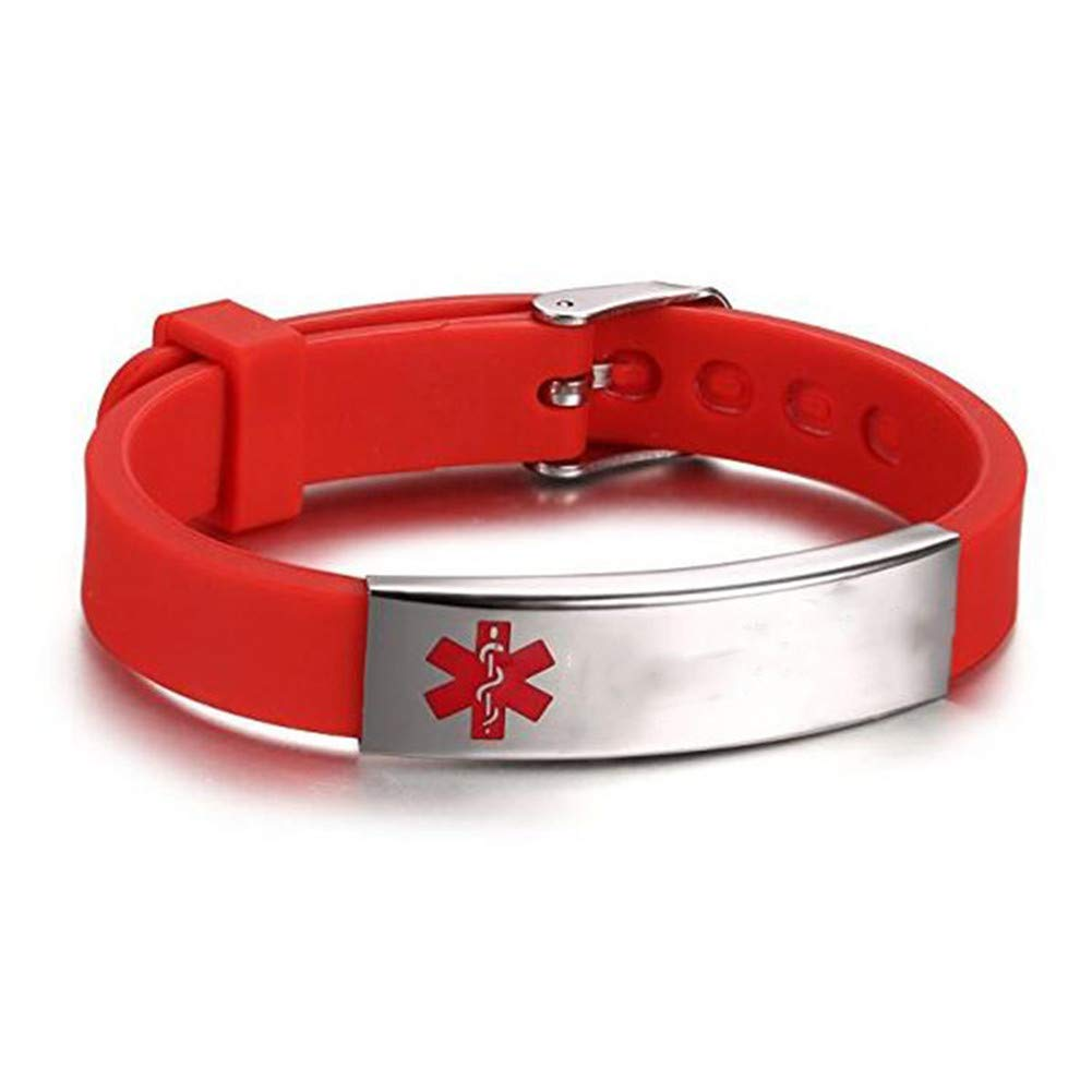 LiFashion LF Stainless Steel Children Mens Womens Red Silicone Chain Adjustable Medical Allergy Bracelet ID Health Alert Monitoring Systems Adjustable Bangle Wristband Adults Teen Kids
