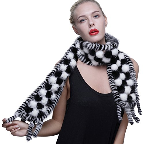 URSFUR Long Knit Mink Fur Scarf with Tassles Ball Pom Pom White & Black