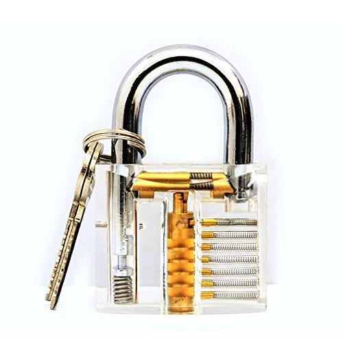 Zehui Juguete Props transparente cerradura de candado visible con herramienta de desbloqueo llave herramienta de cerrajería