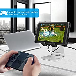 Cell Phone Tablet Video Game Stand, Lamicall Multi-Angle Stand : Dock Compatible with Nintendo Switch Phone X 8 7 6 Plus 5 5c, Accessories, iPad and Tablets (4-10'') Foldable Adjustable Desk - Silver