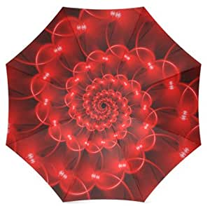 Smiling Face Design Auto Foldable Umbrella Glossy Red Spiral Daily Use Travel Use Custom Umbrella Nice Gift for Someone