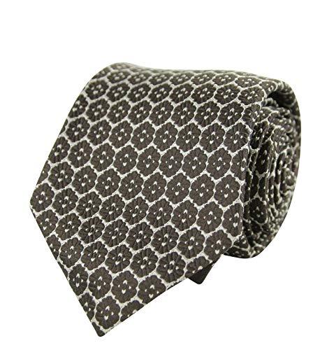 Bottega Veneta Men's Flower Print Beige/Dark Brown Silk Woven Tie 376675 1973