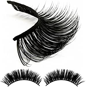 Volúm Lashes Natural 3D Authentic Mink False Eyelashes- Individual Set of Prime Thick Fake Long Black Lash for Beauty and Makeup- Best Dramatic Top Wispies Extension Pair on Thin Eye Strip with Box