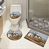 lacencn Windmill 3 Piece Anti-slip mat set Medieval Spain Windmills in Consuegra Old Historical Landmark 3D digital printing Rug Set Blue White Pale Brown