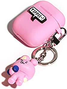 BT21 New Official Merchandise - Apple Airpods Figure Silicone Case with Figure Keyring Keychain (Cooky)