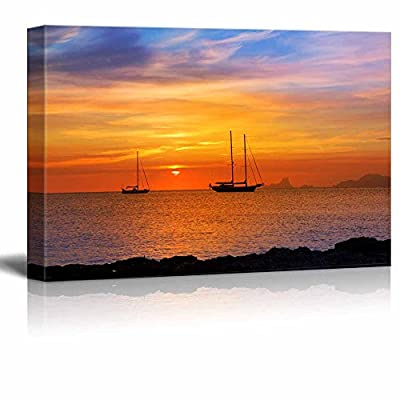 Canvas Prints Wall Art - Beautiful Scenery/Seascape Colorful Sunset on The Sea | Modern Home Deoration/Wall Art Giclee Printing Wrapped Canvas Art Ready to Hang - 24