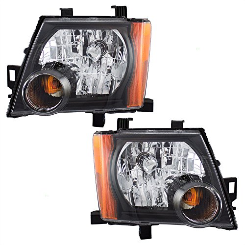 Nissan Xterra Replacement Headlight - Halogen Combination Headlights Headlamps with Black Bezels Pair Set Replacements for 05-15 Nissan Xterra 26060-ZL00A 26010-ZL00A