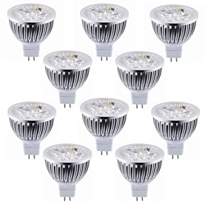 How Nice Non-Dimmable 12V 4W MR16 LED Bulbs - 3200K Warm White LED Spotlights - 50Watt Equivalent - 330 Lumen 60 Degree Beam Angle for Landscape, Recessed, Track lighting - Pack of 10