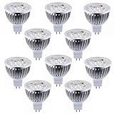 Dragonpad 10PCS Dimmable 12V 4W MR16 LED Bulbs - 3200K Warm White LED Spotlights - 50Watt Equivalent - 330 Lumen 30 Degree Beam Angle