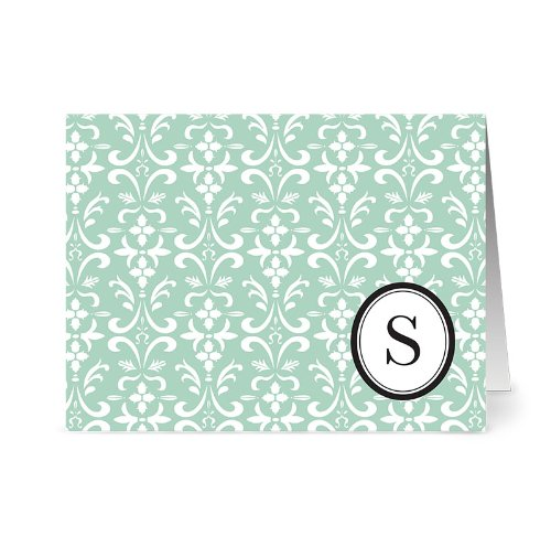 Modern Floral Damask 'S' Mint Monogram - 24 Cards - Blank Cards w/ Grey Envelopes Included