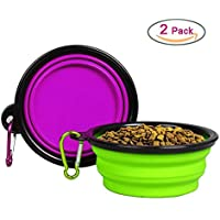 2 Pack Mimibox Collapsible Pet Silicone Travel Bowl