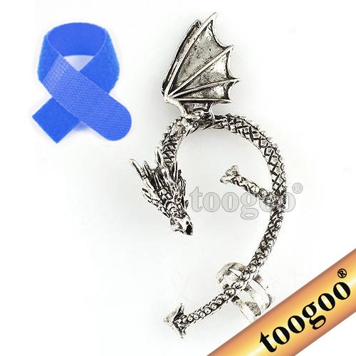 (TOOGOO(R) New Dragons Lure Cuff Pewter Earring Party Left Ear -Retro Silver +Free Cable Tie)