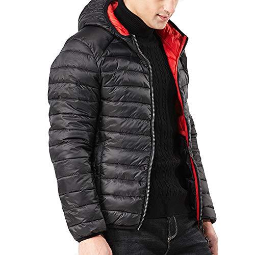 Man Freizeitjacke Allthemen Baumwolle Coat Winter Warme Parka Erbse Kapuzenjacke Trenchcoat Kapuze Schwarz 08mvNnwO