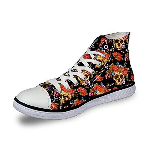 Santiro Clown Skull Print Fashion Canvas Sneakers Women's Men Casual Shoes Rose-38