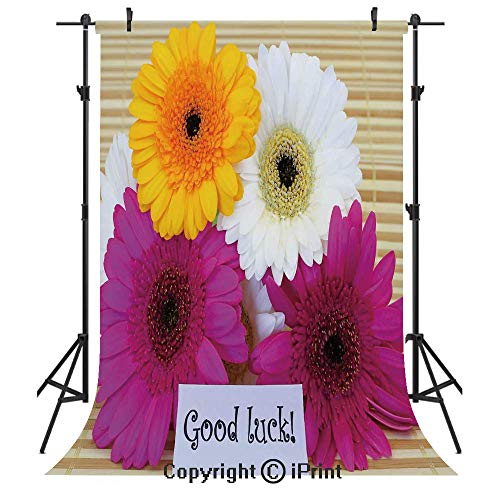 Going Away Party Decorations Photography Backdrops,Good Luck Note Colorful Gerbera Daisies Botanical Composition,Birthday Party Seamless Photo Studio Booth Background Banner 3x5ft,Multicolor