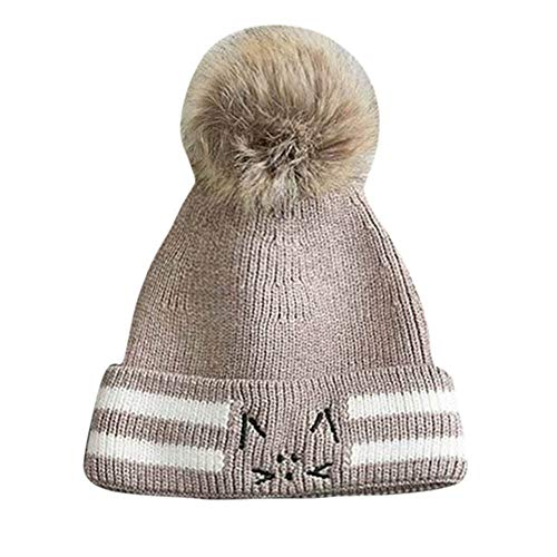Putars Beanie Hat for Children Stripe Cat Baggy Hat Cable Knitted Cap with Ears