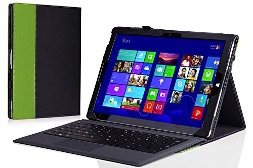 MoKo Microsoft Surface Pro 3 Case - Slim Folding Cover Case for Microsoft Surface Pro 3 12 Inch Tablet, BLACK & GREEN