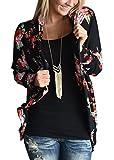 ZHENYUL Womens Boho Wrap Floral Kimono Cardigans Sweaters Casual Coverup Coat Tops Outwear (XL, black)