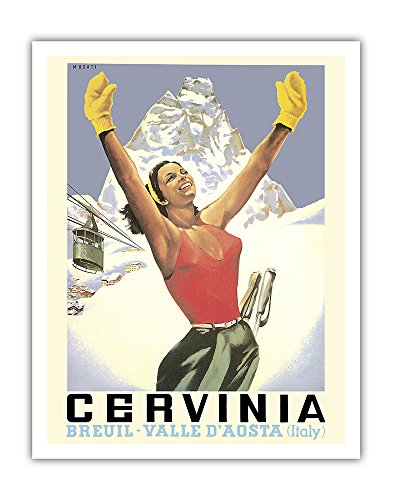 Pacifica Island Art Breuil-Cervinia, Italy - Skier at Alpine Ski Resort - Valle D'Aosta (Aosta Valley) - Vintage World Travel Poster by Arnaldo Musati c.1953 - Fine Art Print - 11in x 14in