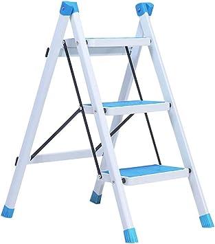 LADDER Taburete Plegable Fácil Y Multifunción, Taburete de 3 Peldaños con Pedal Ancho Antideslizante, Escalera de Acero Multiusos para Cocina, Capacidad de Carga de 120 Kg (4 Colores), Azul,Azul: Amazon.es: Bricolaje y