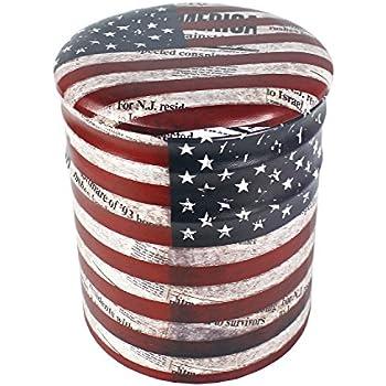 Amazon Com Round Iron Storage Ottoman Us Flag Design 11