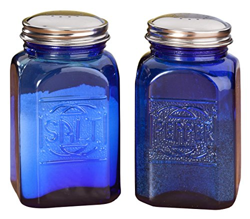 (Miles Kimball Cobalt Blue Depression Style Glass Salt & Pepper Shakers)