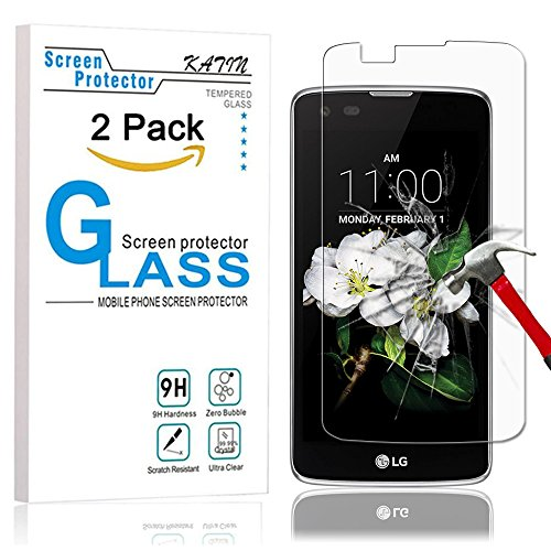 LG K7 Screen Protector - KATIN [2-Pack] LG K7 / Tribute 5 9H Premium Tempered Glass 3D Touch Compatible , 2.5D Round Edge with Lifetime Replacement Warranty