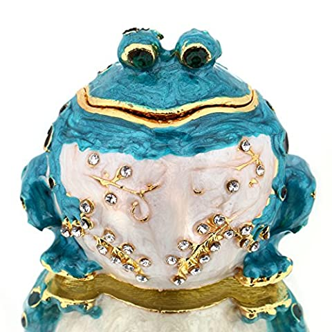YUFENG Handpainted Trinket Box Hinged Blue Frog Figurine for Wedding Jewelry Ring Holder,Cute Animal Figurine Collectible Table Centerpiece Christmas Gift for Girl (blue - Turtle Hinged Trinket Box