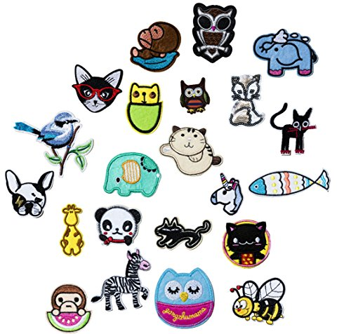 Set of 22 Assorted Embroidery Applique Decoration DIY Patch Animal Panda Dog Funny Custom Design Face Kit Iron On For Shirt Jacket Bag Hat Pant Vest Jean Cotton Clothes Kid Birthday Gift