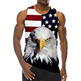 RAISEVERN 3D Flag Eagle Print Funny Pattern Realistic Underwaist Gym Tank Tops for Men,Flag Eagle,Medium