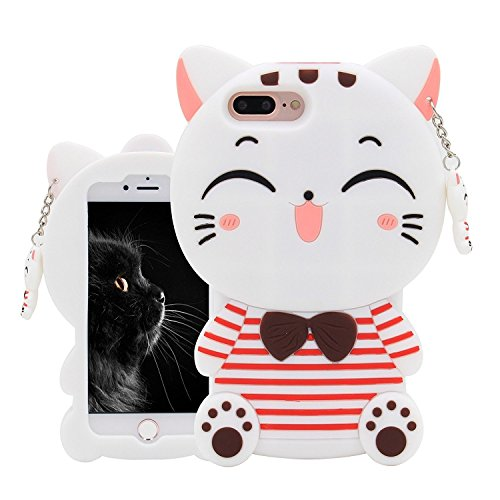 Joyleop White Cat Case Compatible with iPhone 5 5C 5S SE,Cute 3D Cartoon Animal Cover,Kids Girls Fun Soft Silicone Rubber Kawaii Character Unique Cases,Fashion Shockproof Skin Protector for - Hello Kitty 5s Case