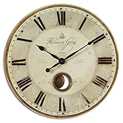 Uttermost 06033 Harrison Gray Weathered Look 30 Round Wall Clock
