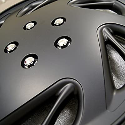 TuningPros WSC3-054B15 4pcs Set Snap-On Type (Pop-On) 15-Inches Matte Black Hubcaps Wheel Cover: Automotive
