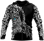 Men Loose Casual Quick Dry Zip Hoodie, Odin 3D Viking Tattoo Print Long Sleeve Fenrir Wolf Coat with Pocket