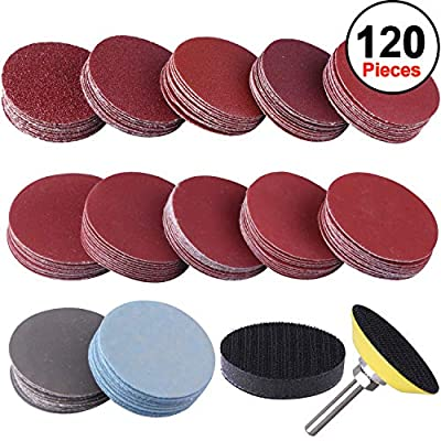 "SIQUK 120pcs 2 inch Sanding Discs Pad with 1pc 1/4"" Shank Backing Pad and 1pc Soft Foam Buffering Pad for Drill Grinder (10pcs Each Grit - 60 80 120 180 240 400 600 800 1000 1200 2000 3000)"