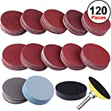 SIQUK 120pcs 2 inch Sanding Discs Pad with 1pc 1/4'' Shank Backing Pad and 1pc Soft Foam Buffering Pad for Drill Grinder (10pcs Each Grit - 60 80 120 180 240 400 600 800 1000 1200 2000 3000)