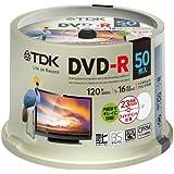TDK 録画用DVD-R デジタル放送録画対応(CPRM) 1-16倍速 インクジェットプリンタ対応(ホワイト・ワイド) 50枚スピンドル DR120DPWC50PUE