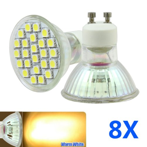 Bao Xin Ultra Slide 4W GU10 Warm White LED Bulbs with 24SMD 3200K Energy Saving and Perfect for Replacing 40-50 W Halogen Bulbs (50x50mm) (8 Piece)