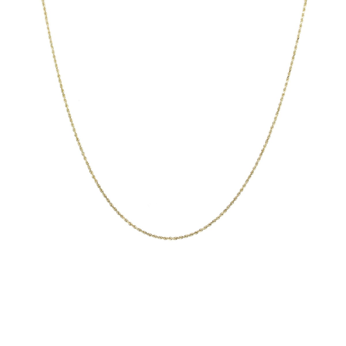 14K Gold 0.8MM Thin Rope Chain Necklace- Available in Yellow, White or Rose-16''-24''