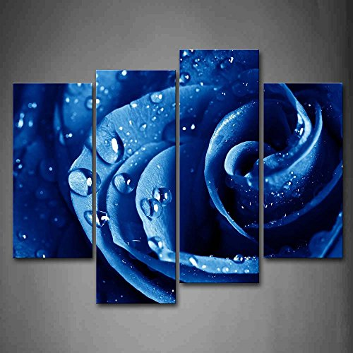 First Wall Art - Pretty Rose In Dark Blue With Waterdrops Wall Art Painting Pictures Print On Canvas Flower The Picture For Home Modern Decoration - Dark Blue Rose
