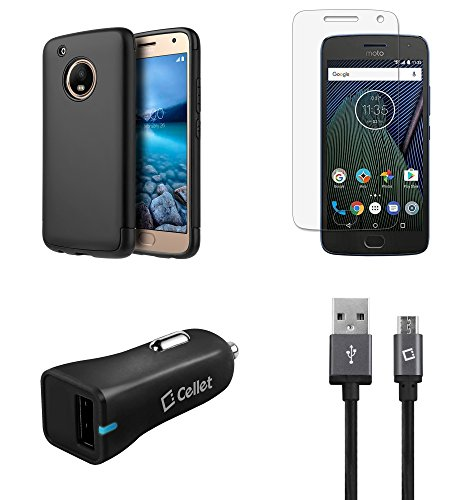 Price comparison product image Moto G5 Plus - Accessory Bundle with Dual Layer [Matte Grip Coating] Hybrid Case - (Black), Atom LED, Glass Screen Protector, 18W [Qualcomm Quick Charge 3.0] Car Charger, Micro USB Cable