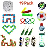 Dciko 18 Pack Bundle Sensory Toys-Wacky Tracks Snap/Flippy Bike Chain/Fidget Cube/Liquid Motion Timer/Rainbow Magic Ball/Squeeze Grape Ball/Mesh and Marble Toy for ADD ADHD Stress Relax