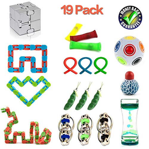 Dciko 18 Pack Bundle Sensory Toys-Wacky Tracks Snap/Flippy Bike Chain/Fidget Cube/Liquid Motion Timer/Rainbow Magic Ball/Squeeze Grape Ball/Mesh and Marble Toy for ADD ADHD Stress Relax by Dciko