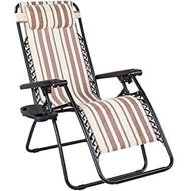 Sundale Outdoor Oversided Outdoor Patio Folding Lounge Zero Gravity Reclining Chair with Neck Pillow and Side Tray, Yellow and Coffee Stripe