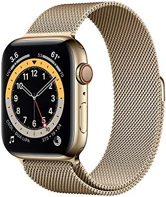 New Apple Watch Series 6 (GPS + Cellular, 44mm) - Gold Stainless Steel Case with Gold Milanese Loop